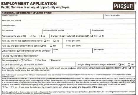 pacsun job application pdf free job application form