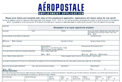 Aeropostale Application Print Out Aimed for Bright Future Career ...