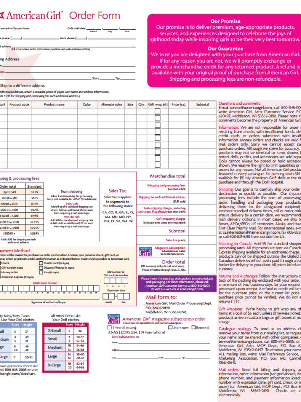 American--Order-Form-Printable Job Application Form Free Printable on