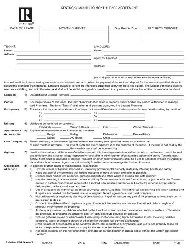 Kentucky Month To Month Rental Agreement Template With Lawful