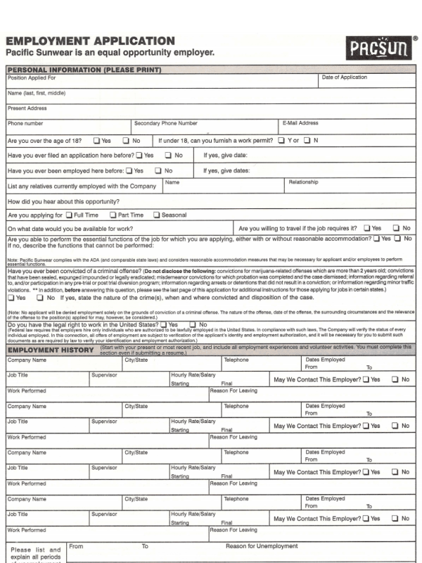 pacsun application form free job application form