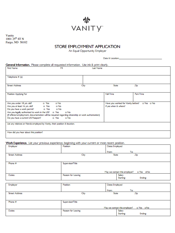 Vanity Job Application Form