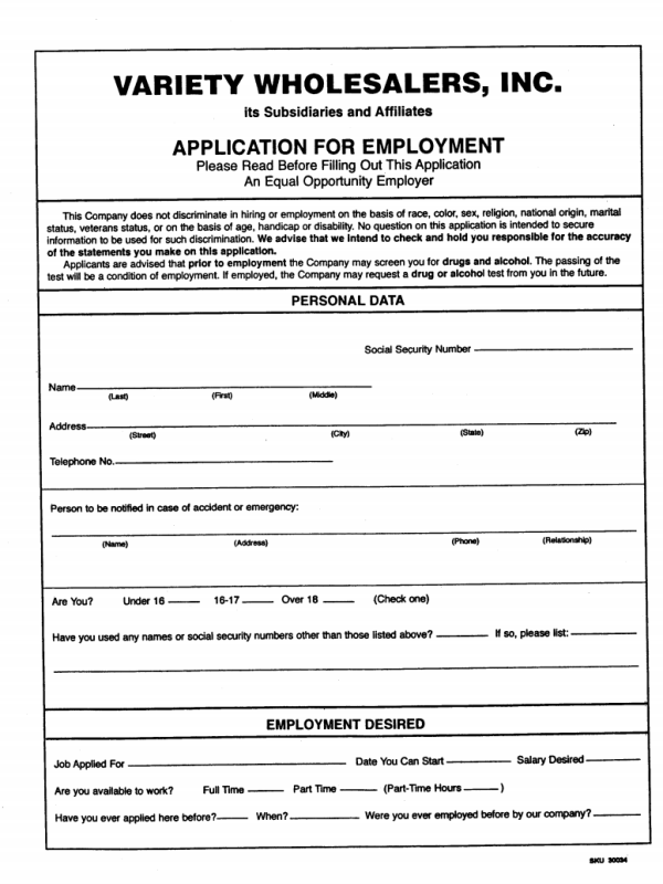 Variety Wholesalers Job Application Form