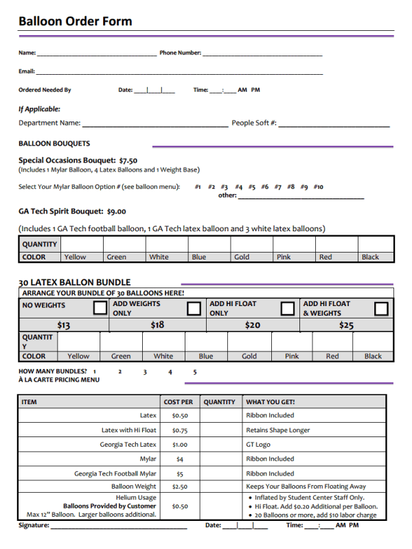 Balloon Order Form