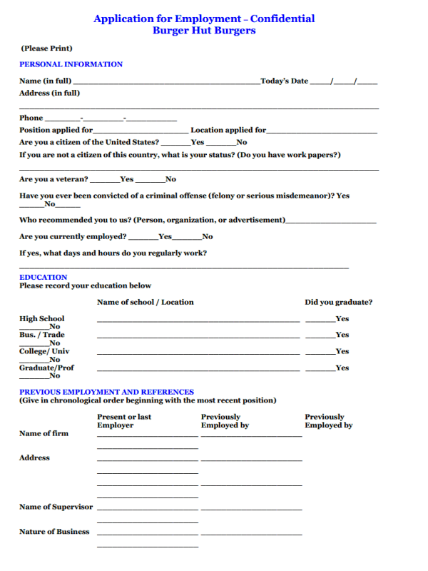 Burger Hut Job Application Form Free Job Application Form