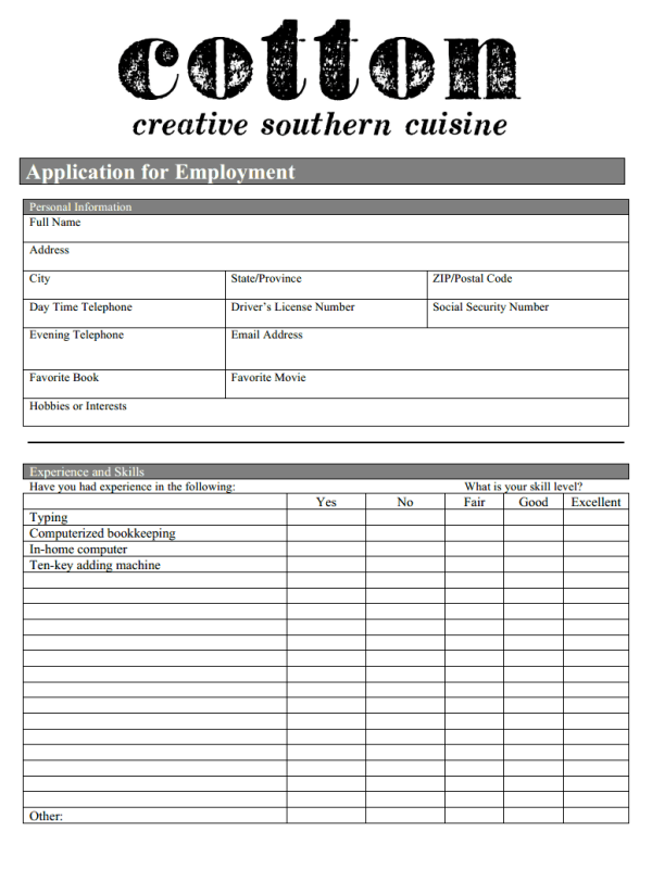 Simple Cotton Restaurant Job Application with Easy Way to Apply ...