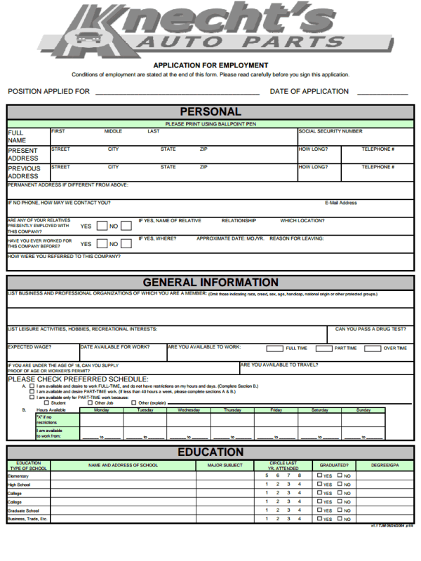 Knecht's-Auto-Parts-Job-Application-Form Job Application Form Mechanic on sonic printable, part time, blank generic, big lots, free generic,