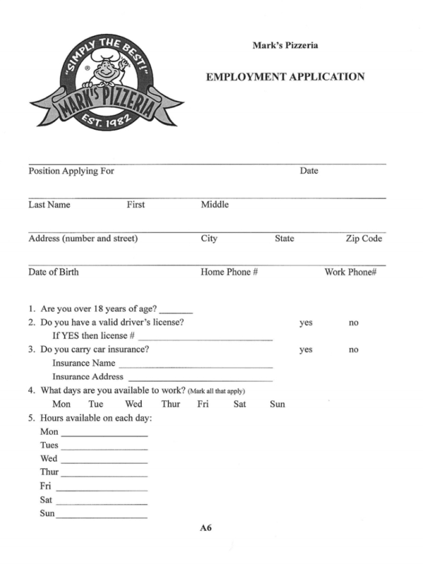 Mark's Pizzeria Job Application Form
