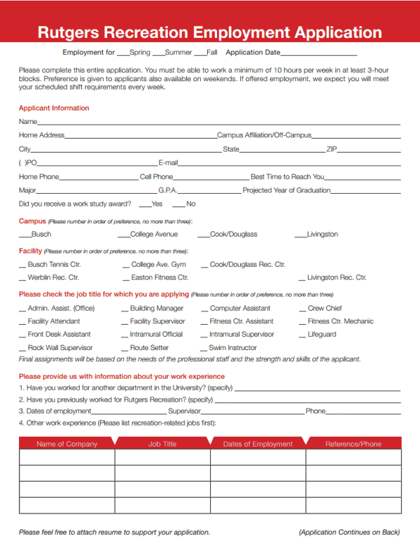 Rutgers Recreation Job Application Form
