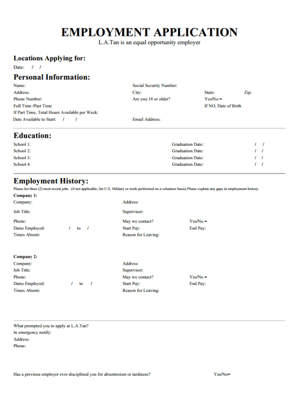 Tips Finding La Tan Job Application Form