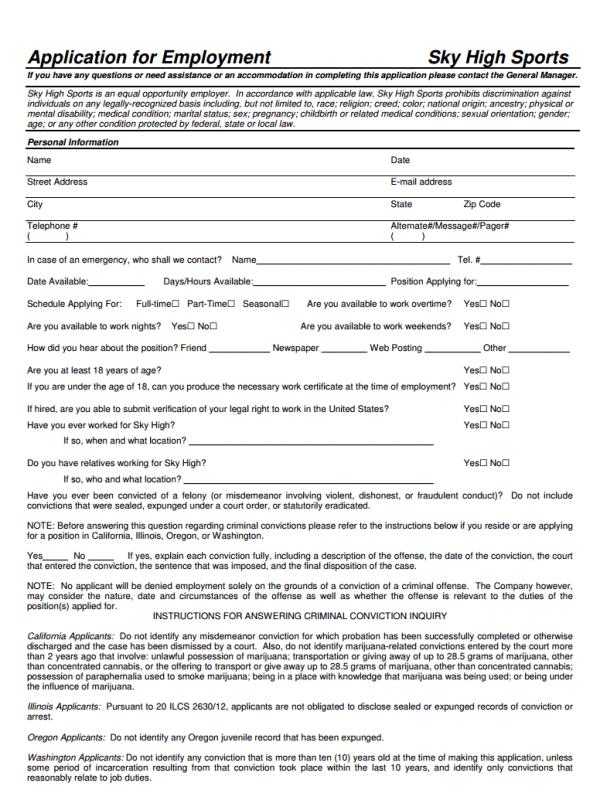 sky high sports job application form