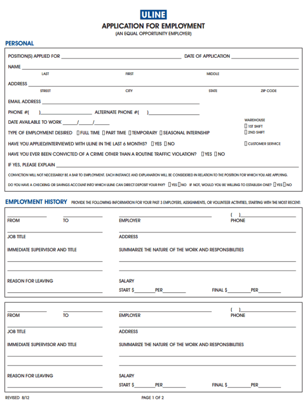 Uline Job Application Form on generic job application form, amazon job application form, small business job application form, for job interview, starbucks job application form,