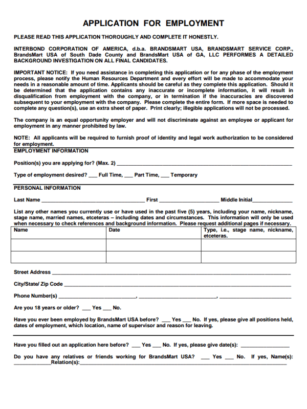 Brandsmart Job Application Form