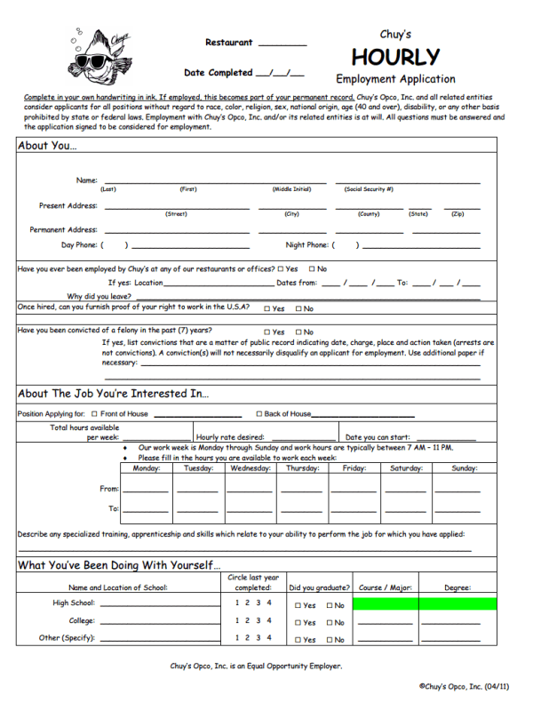 Chuy's Restaurant Job Application Form