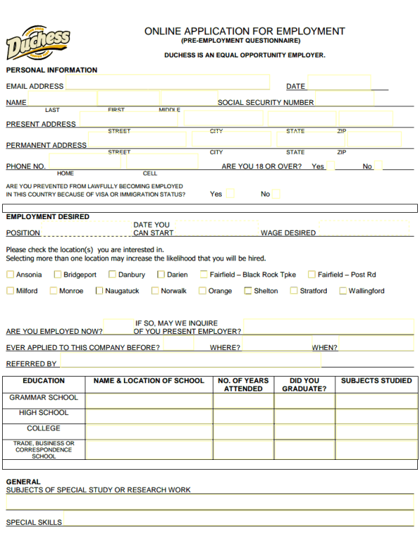 duchess restaurant job application form free job application form