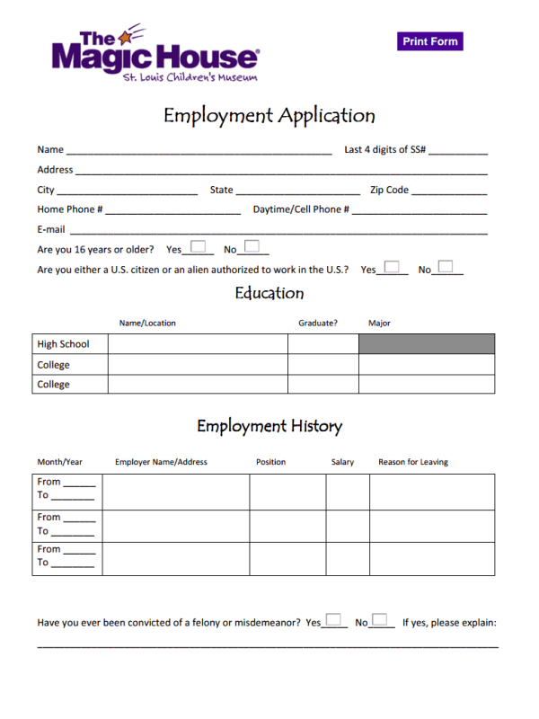 magic house job application form considerations and how to free job application form. Black Bedroom Furniture Sets. Home Design Ideas