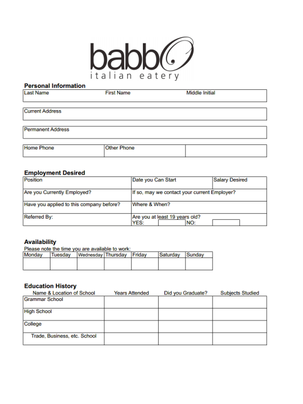 grab babbo job application form today and join the team