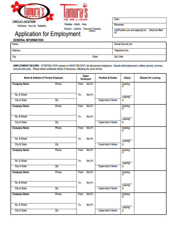 Completing Tamuras Job Application Form
