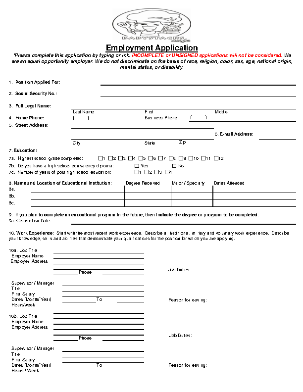 work application forms