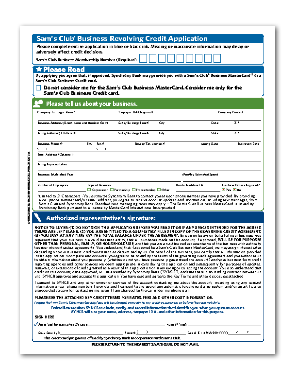 Applying Sam's Club Credit Card Application Form for a Better Life ...