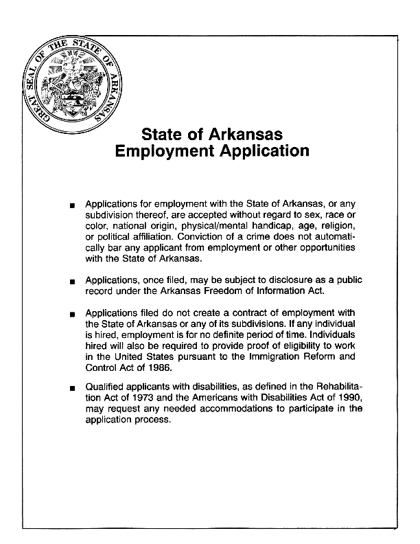 State Of Arkansas Job Application Form Free Job Application Form