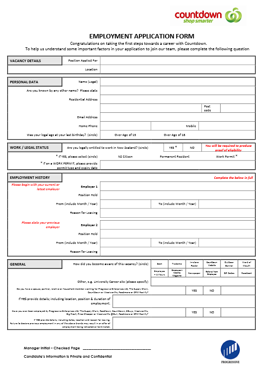 Countdown Job Application Form