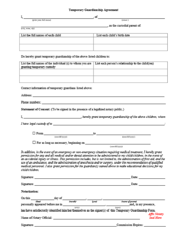 Legal Guardianship Form Free Job Application Form – Temporary Guardianship Forms