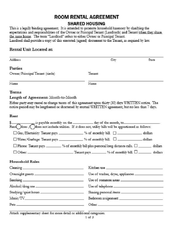 Elegant Room Rental Agreement Form