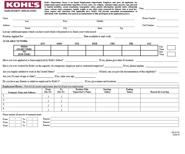 Kohls Job Application Form - Free Job Application Form