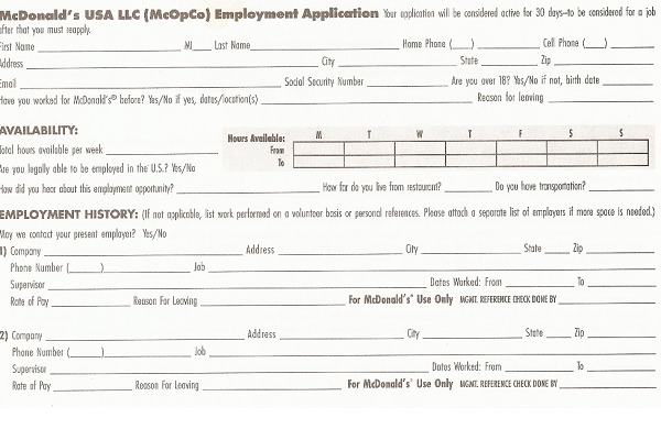 Mcdonalds Job Application Form Pdf