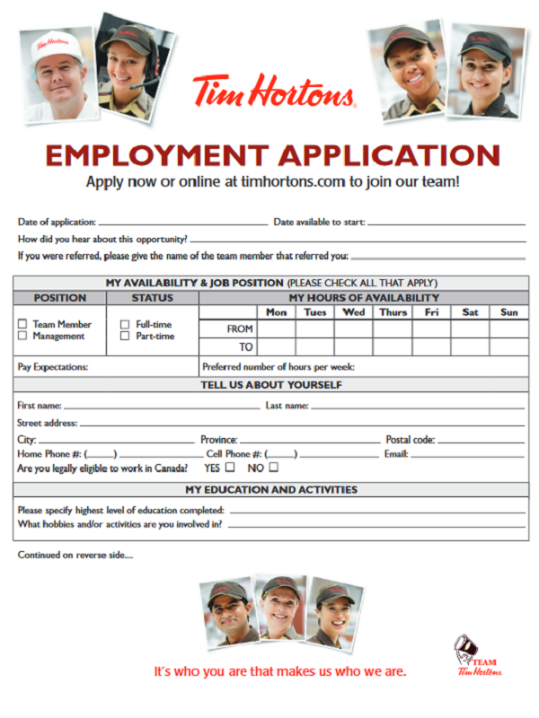 tim hortons job application form free job application form