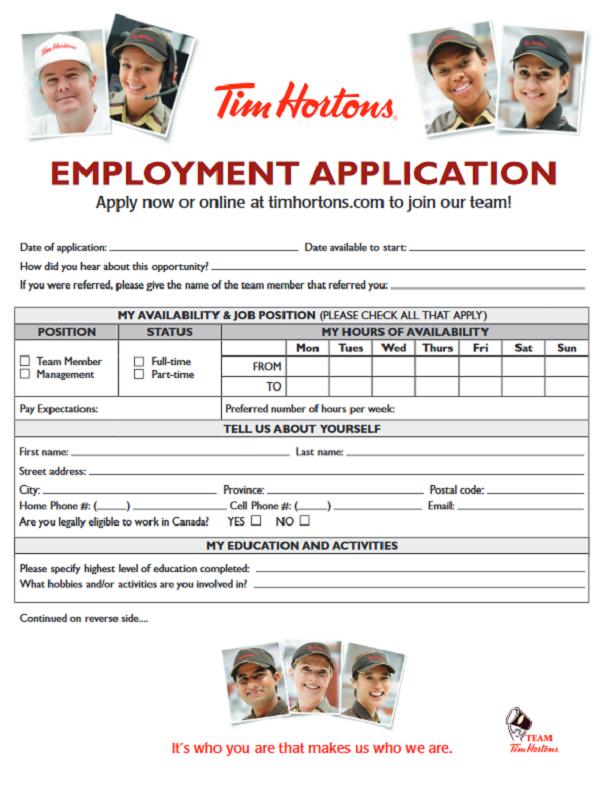 tim hortons job application form