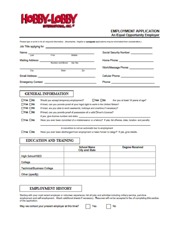 Hobby Lobby Job Application Form Free Job Application Form