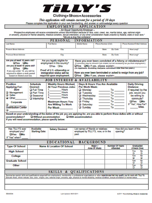 Tillyu0027s Job Application Form