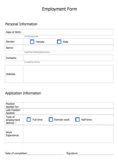 Simple Employments Forms