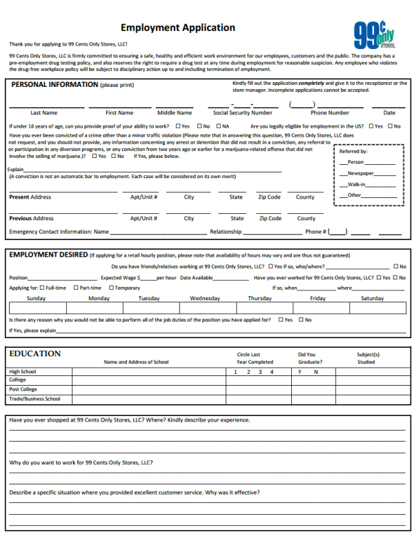 99 cent store application form, 99 cent store job application