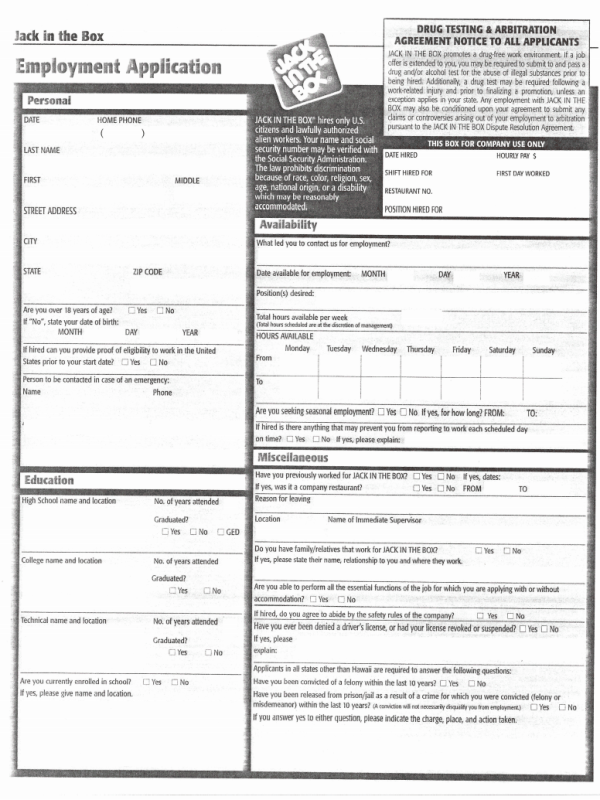jack in the box job application pdf