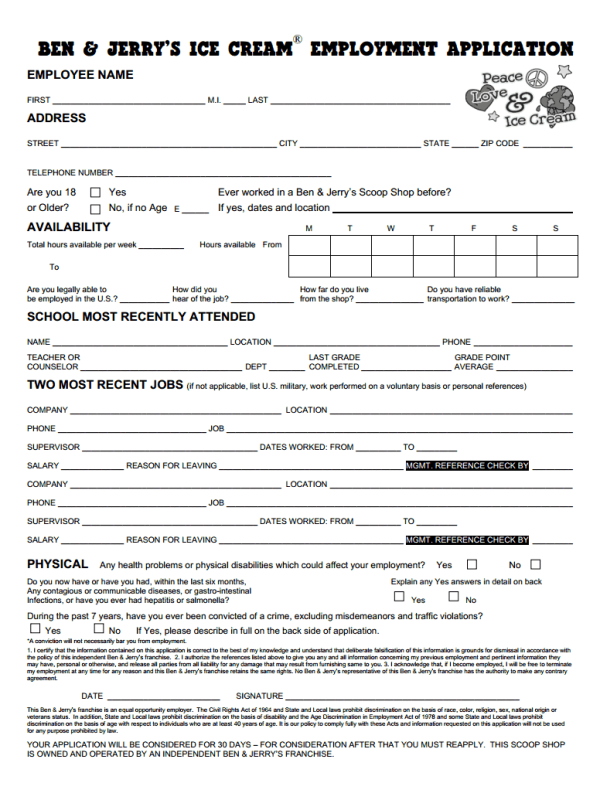 Ben and Jerry Job Application Form