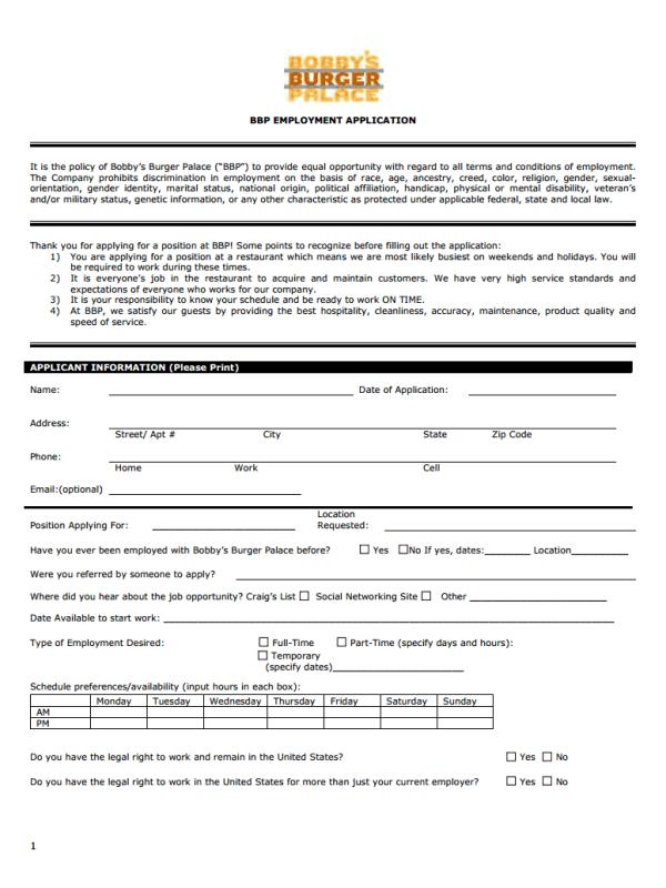 Bobby's Burger Palace Job Application Form