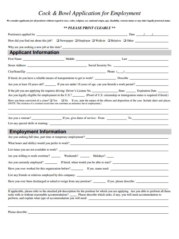 Cook & Bowl Job Application Form