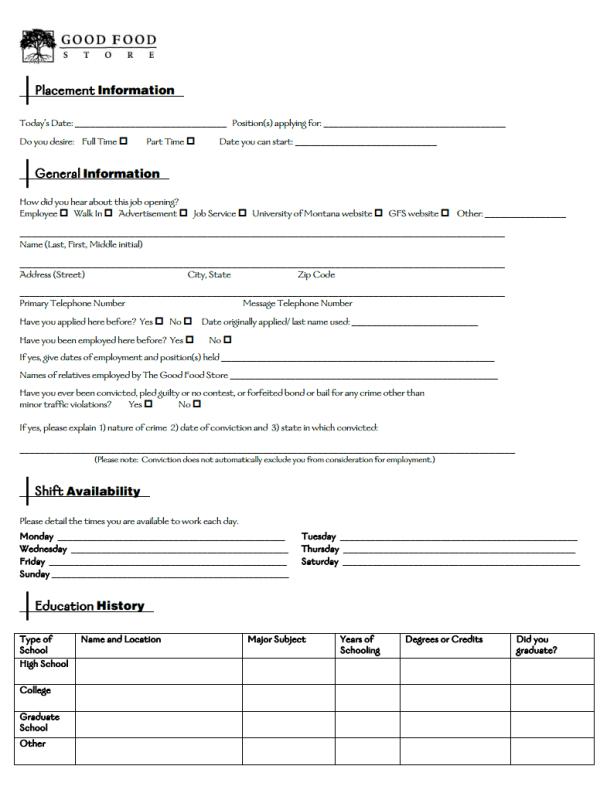 Good Food Store Job Application Form