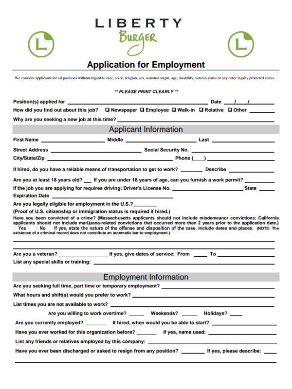 Liberty Burger Job Application Form