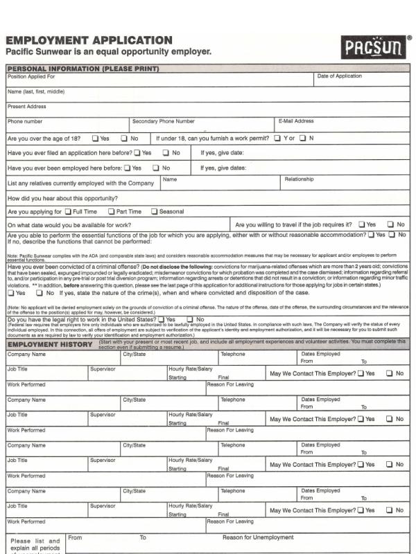 Pacsun Application Form