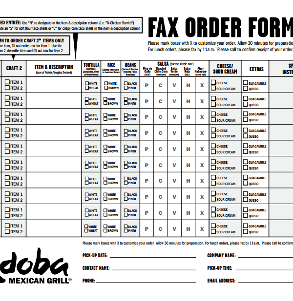 Qdoba Fax Order Form Completion In Ordering The Super
