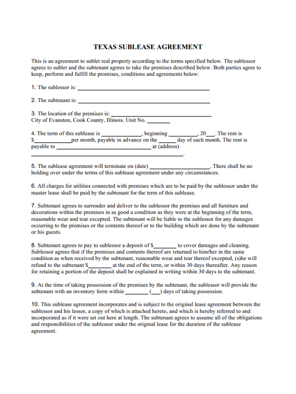 Texas Residential Sublease Agreement Template Free Job Application
