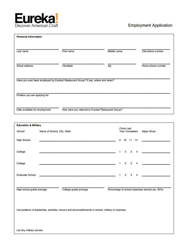 Eureka Restaurant job application form