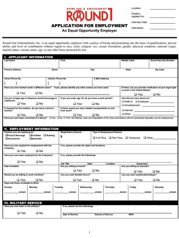 round one entertainment job application form