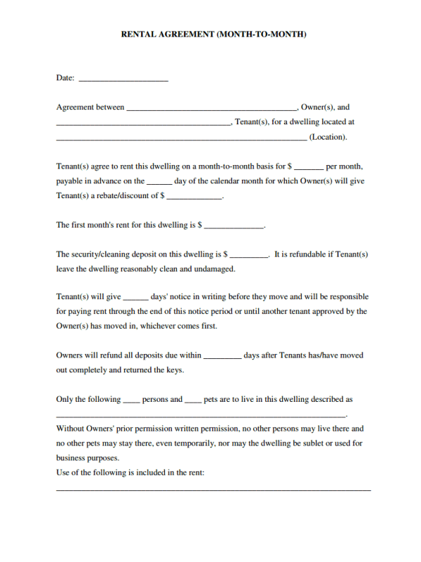 Simple Rental Agreement Month To Month Template Free Job