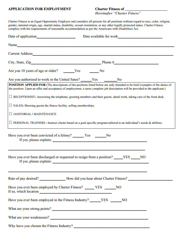 Charter Fitness Job Application Form Free Job Application Form