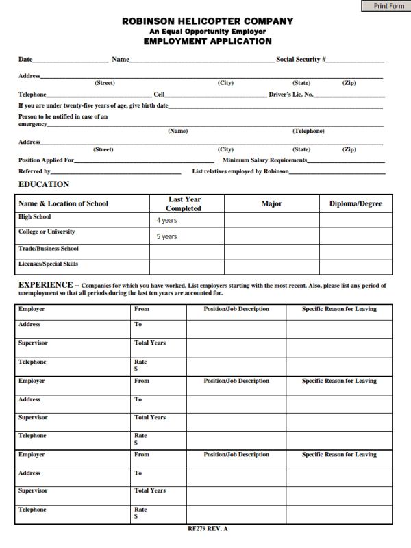 robinson helicopter job application form free job application form